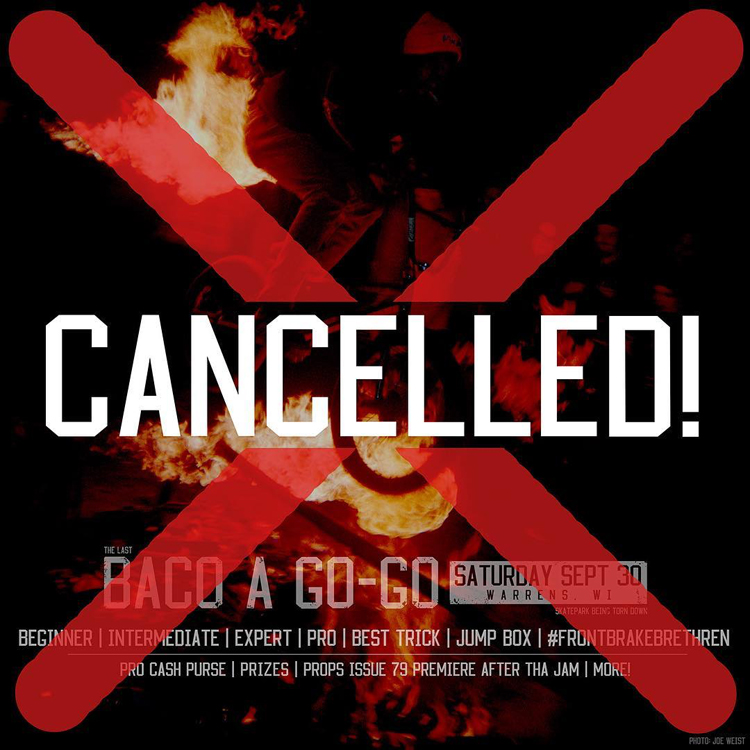 Baco-A-Go-Go Cancelled