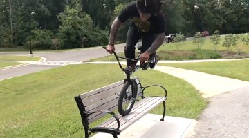 How To 360 Nose Bonk a Bench Brad Simms BMX video