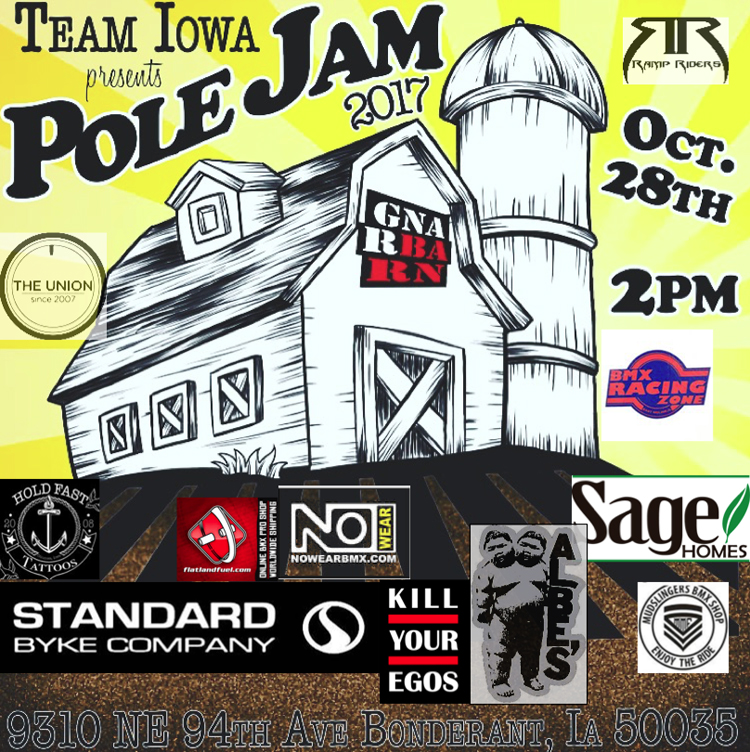 Team Iowa Pole Jam 2017 Gnar Barn Flyer