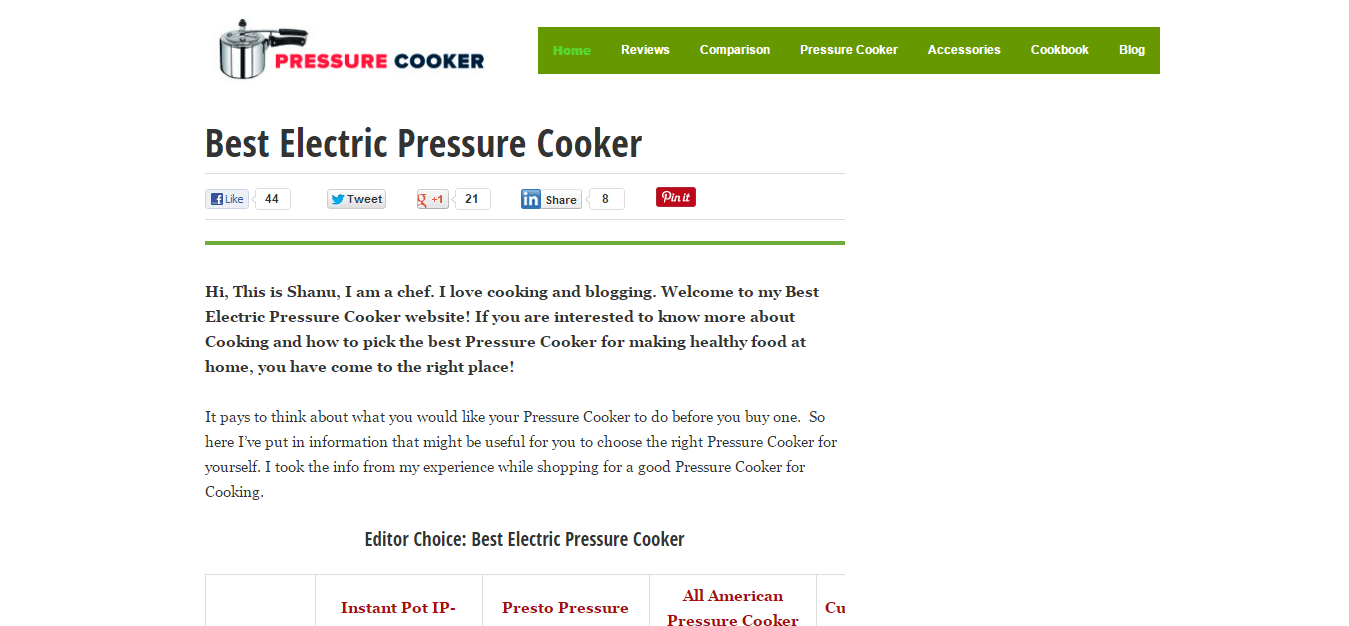 Website Development Of Best Electric Pressure Cooker