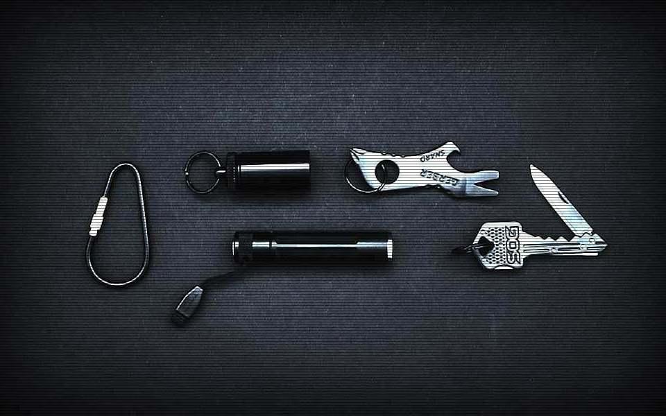 All Black EDC Kit - Набор EDC на связке ключей