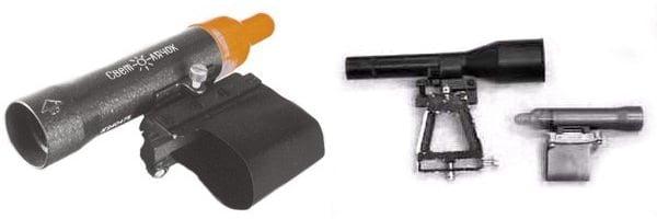"""На рисунке изображены коллиматорные прицелы """"Вьюга-45-2"""" для автоматов Калашникова (слева) и Светлячок Т-1 для охотничьих ружей (справа)."""