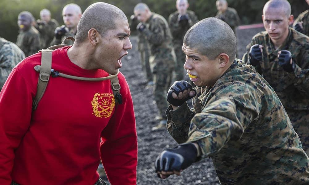 MCMAP - Программа боевых искусств корпуса морской пехоты США. Первый этап обучения, групповое занятие на открытой площадке.