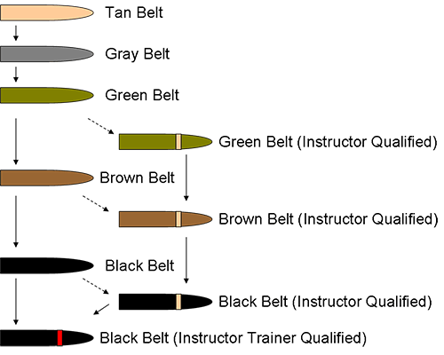 MCMAP - Программа боевых искусств корпуса морской пехоты США. Система поясов по результатам аттестации после каждой ступени обучения и инструкторские нашивки.