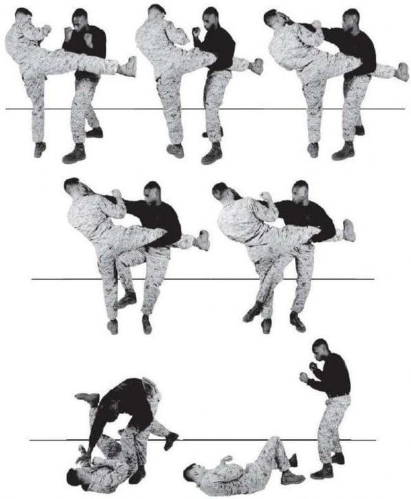 Рис. 4-6. Противодействие круговому удару ноги.