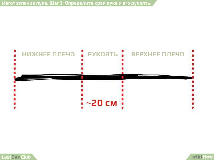 3 - Определите края лука и его рукоять - Как сделать лук своими руками - Руководство по выживанию