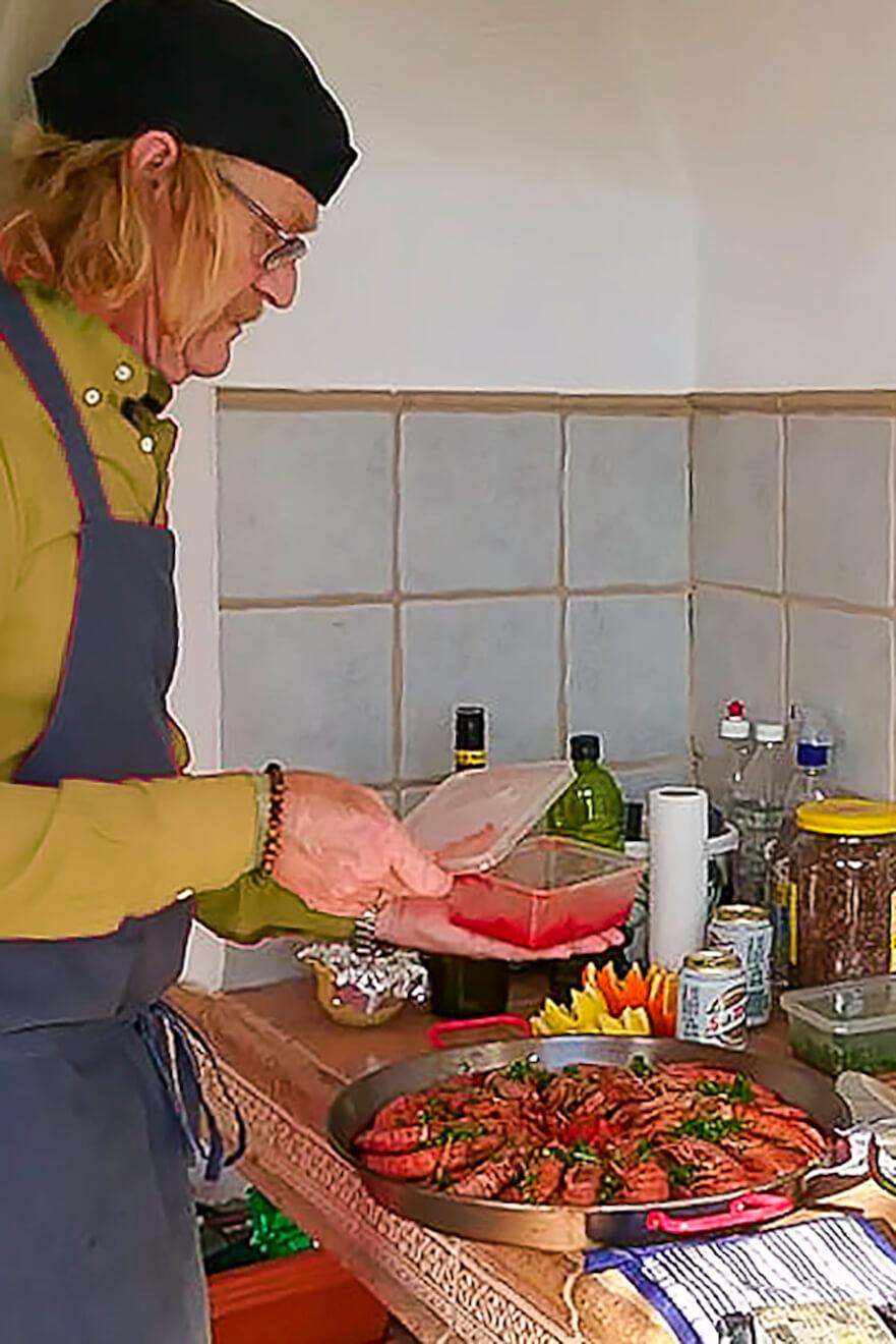 Paella, lekker. schaaldieren, Raf Bayens, Casa Asombrosa, workshop, B&B, #BnBjavea