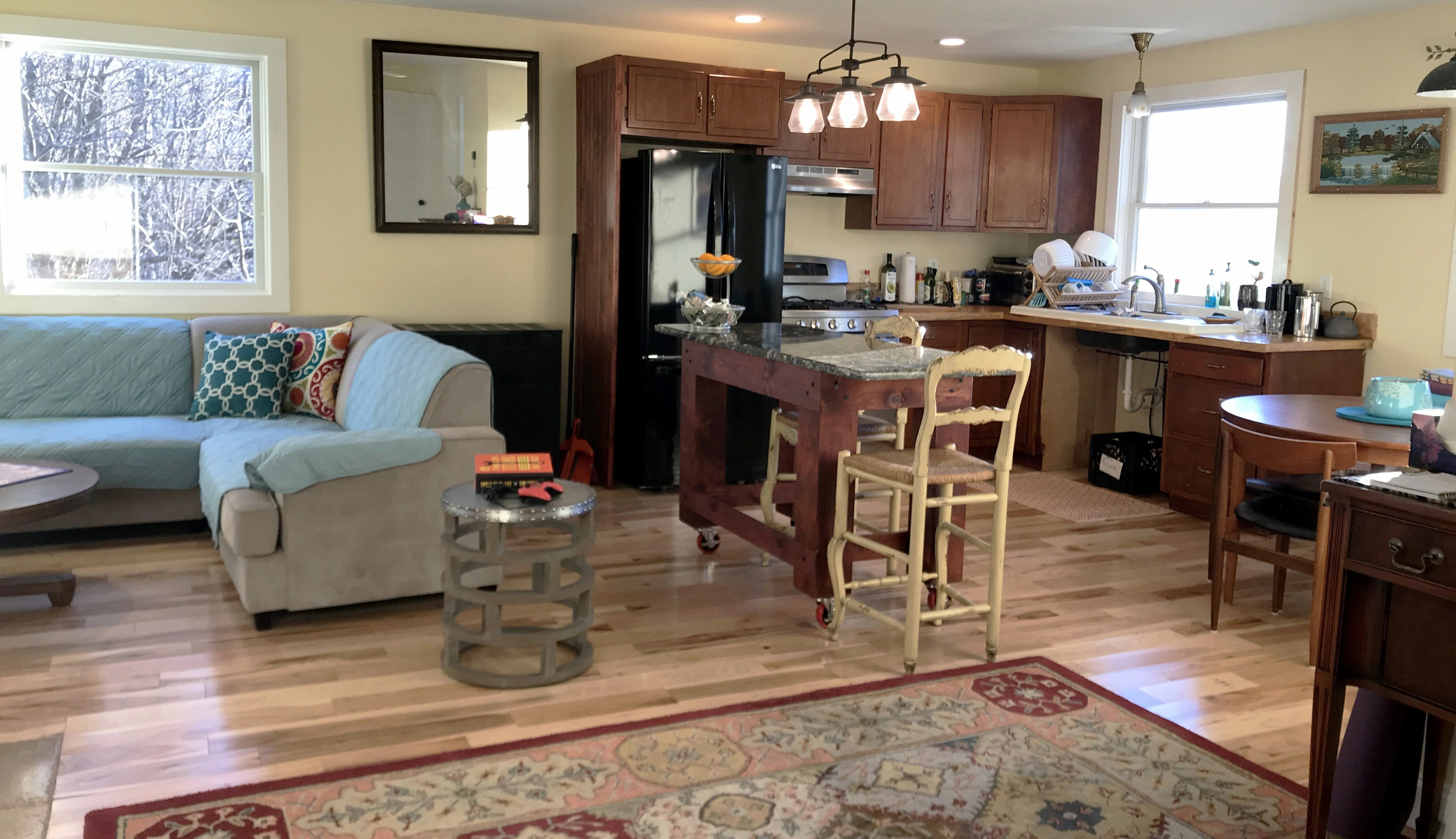The combination kitchen and living room in our Ghent, NY farmhouse apartment