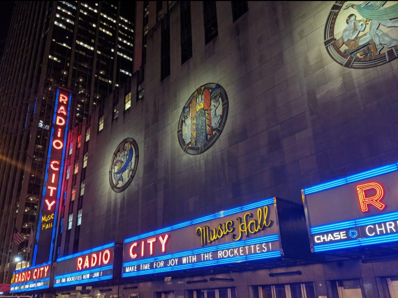 the outside of the radio city music hall