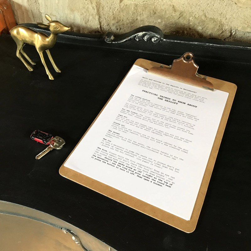 Clipboard with Airbnb instructions