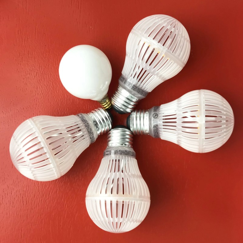 lightbulbs on a red table