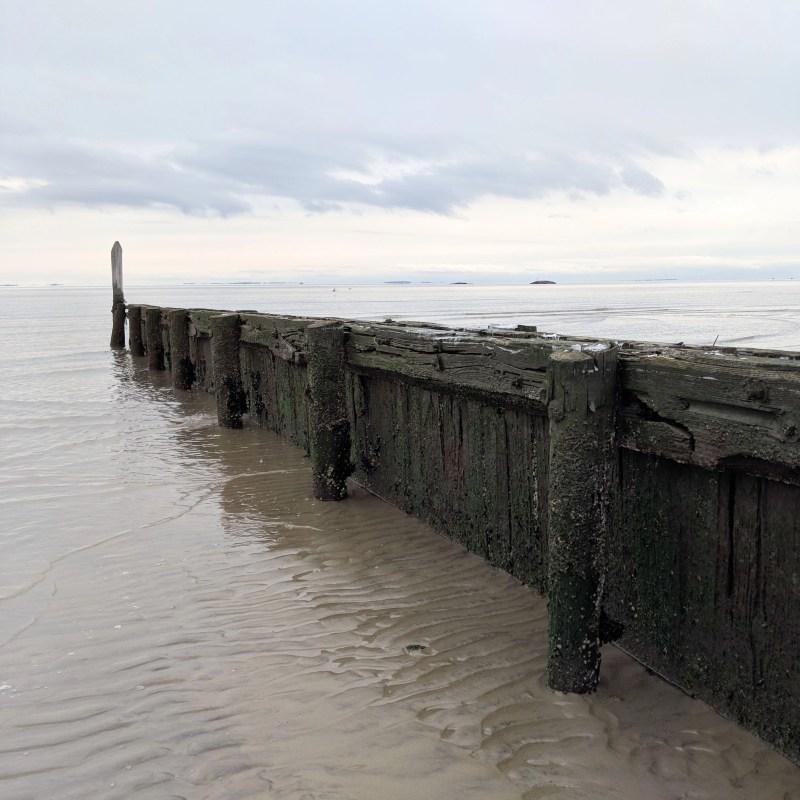 dock in cold atlantic ocean