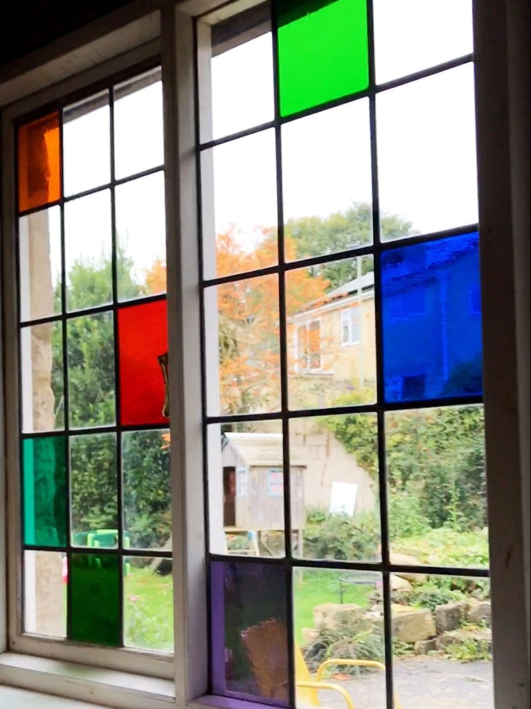stained glass looking out onto a garden