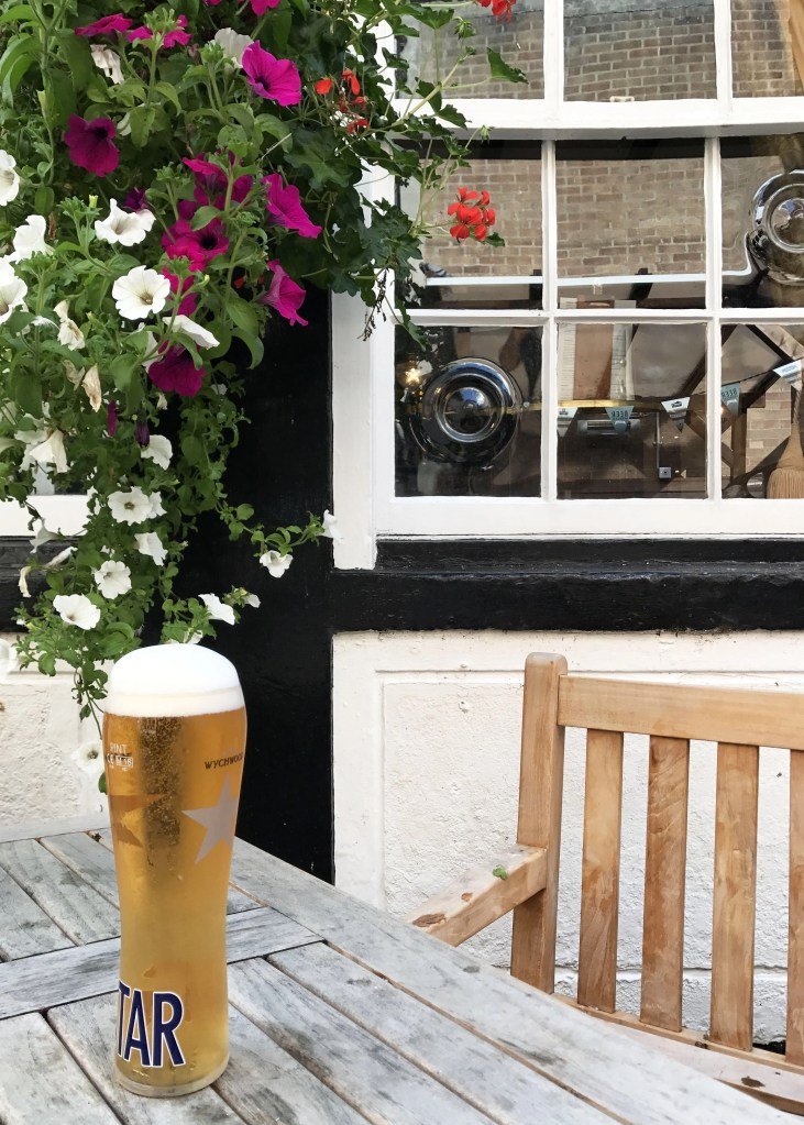 beer outside of the Oxford pub The Crown