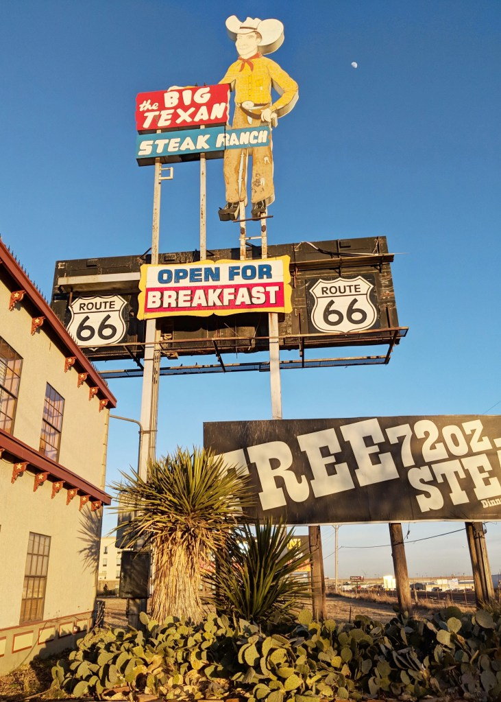 Sign outside the Big Texan restaurant advertising a free 72 oz steak