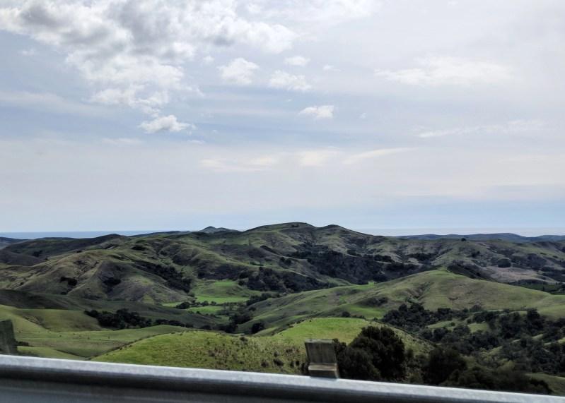 hills overlooking ocean on California Highway 1