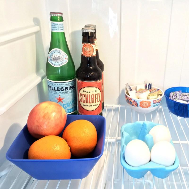 lots of snacks in the fridge