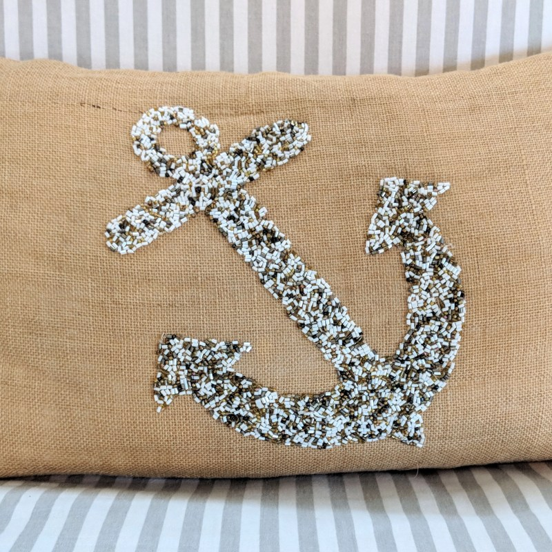 throw pillow with a beaded anchor in Rhode Island
