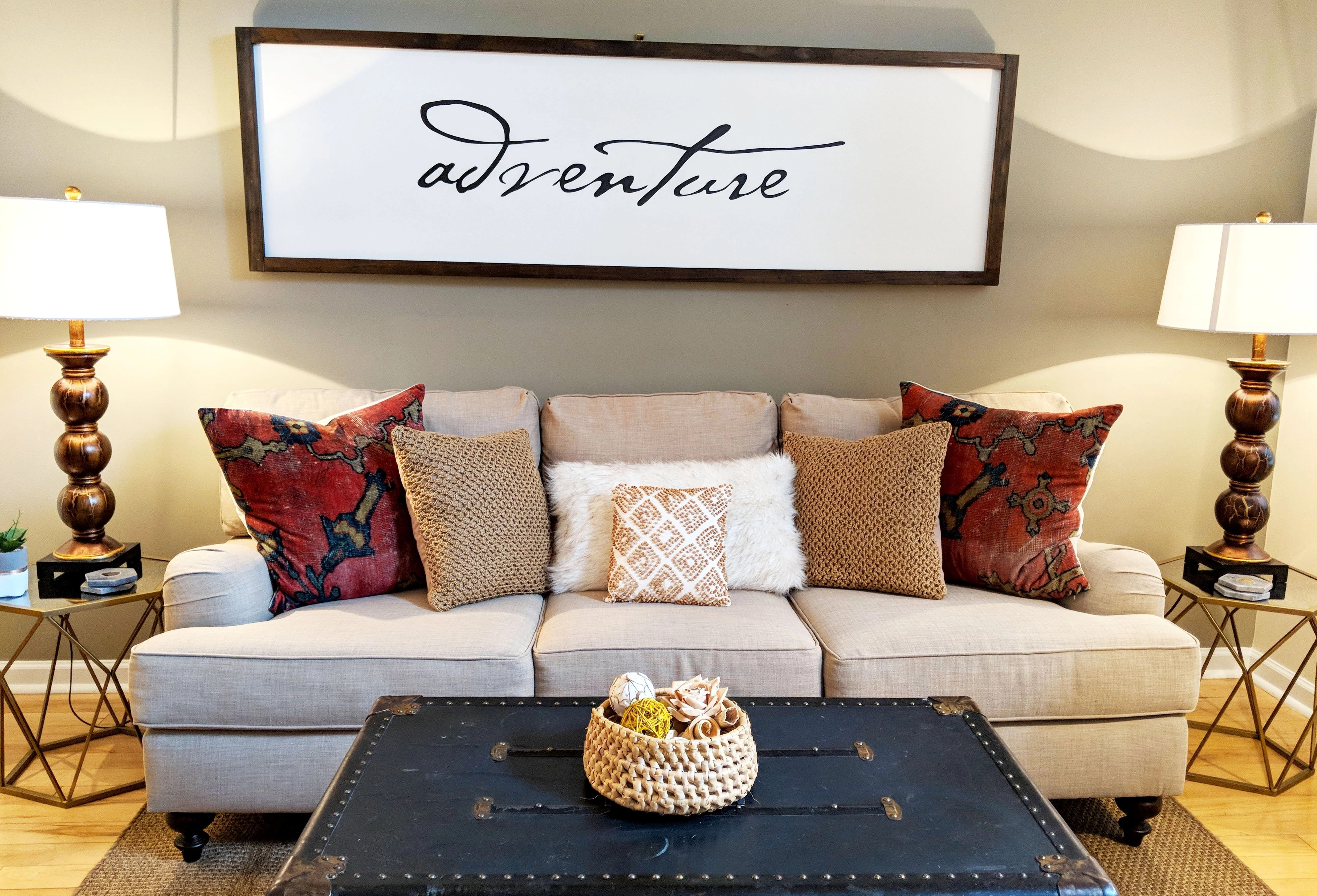 living room couch with end tables