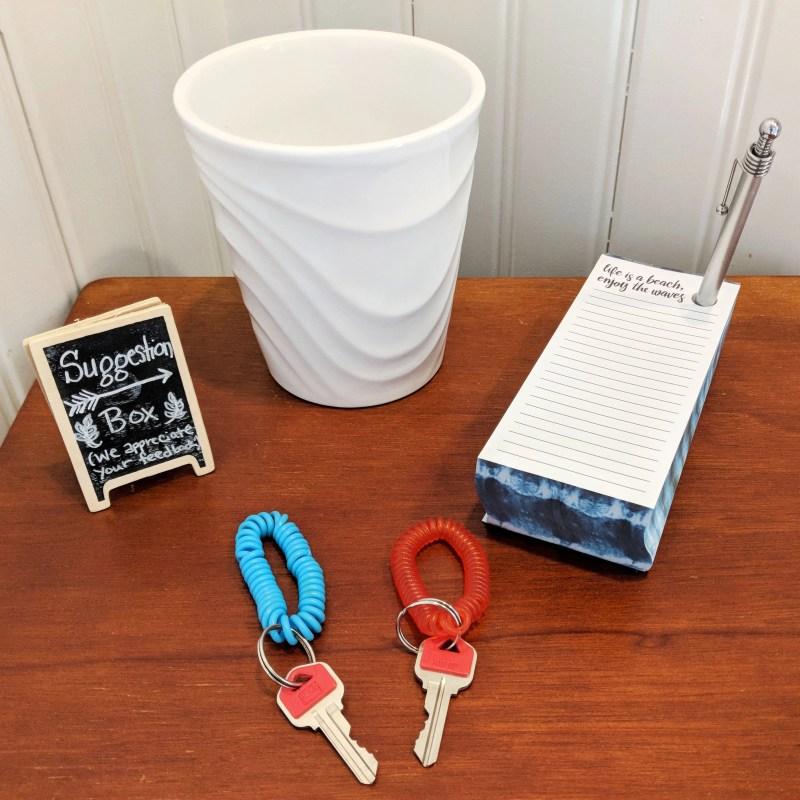 suggestion box and keys