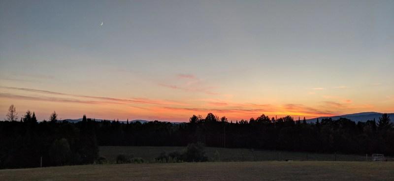 sun set at Cherry Valley Farm Airbnb