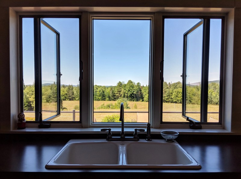 view from kitchen sink at Cherry Valley Farm Airbnb
