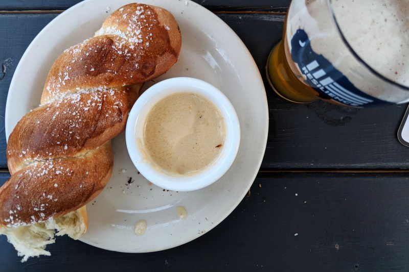 Best Pretzel Ever at Shilling Brewery in Littleton, New Hampshire