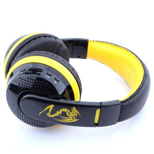 ovleng mx666 wireless stereo bluetooth headphone headset foldable fm sd card headset for pc laptop black yellow 1571976246570