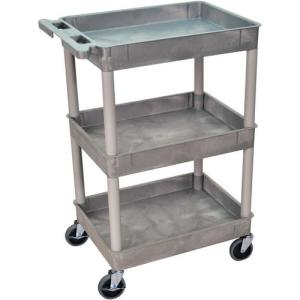 "Luxor 24 x 18"" Three-Shelf Utility Cart (Gray)"