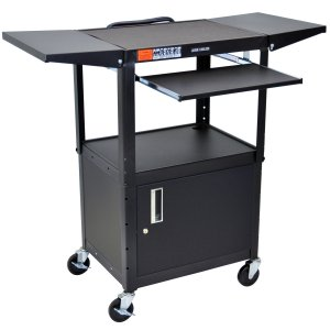 Luxor AVJ42KBCDL - Cart w/ Pullout, Cabinet, Drop Leaf Shelves