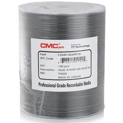 CMC Pro Taiyo Yuden  8X DVD-R White Inkjet Hub Printable Media Valueline - 100 Pack