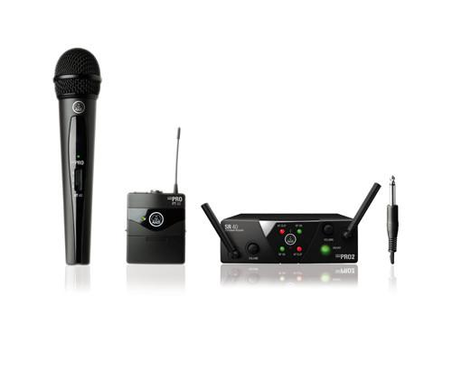 AKG WMS40-MIX-MINI2 2ch Analog Wireless System, w/ 1 HandHeld & 1 Bodypack Transmitter