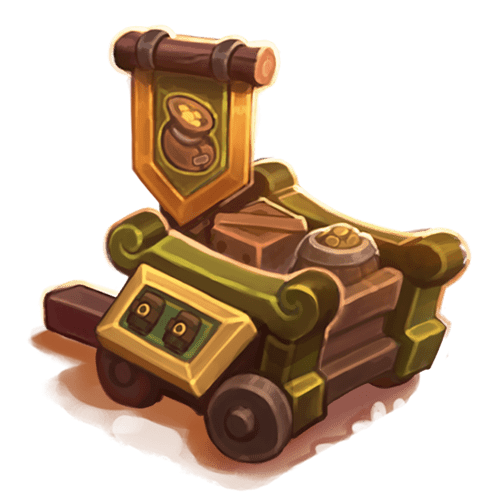 The Merch Cart has a little flag with a bag of gold on it. It's wooden, with wheels and some handles for pushing. Looks like it's full of packages and loot!