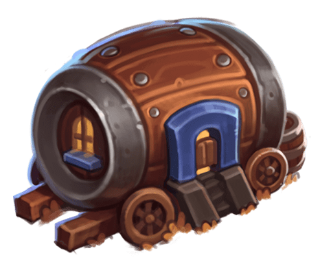The Tavern is shaped like a barrel on its side, only it has windows and a front door. It also has wheels.