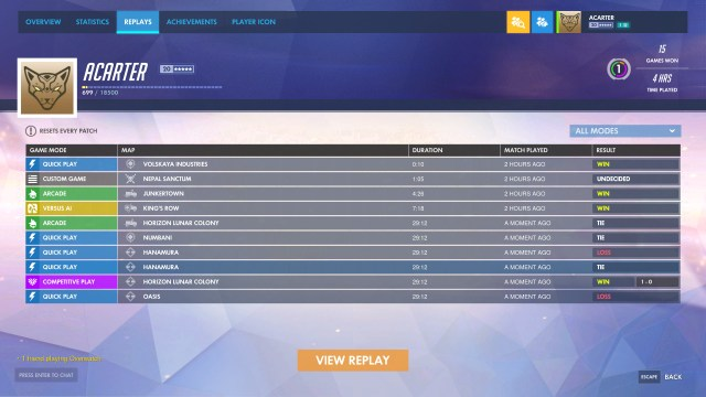 New Feature, Overwatch Replays Now on PTR 7