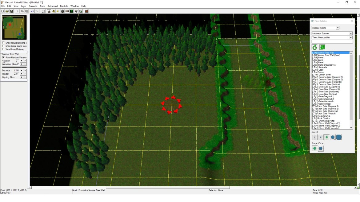 Map view with trees placed