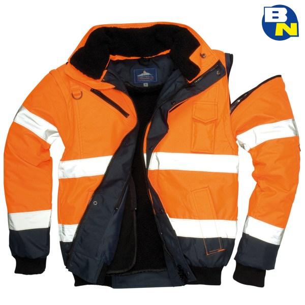 Abbigliamento-Pro-bomber-bicolore-alta-visibilità-arancio