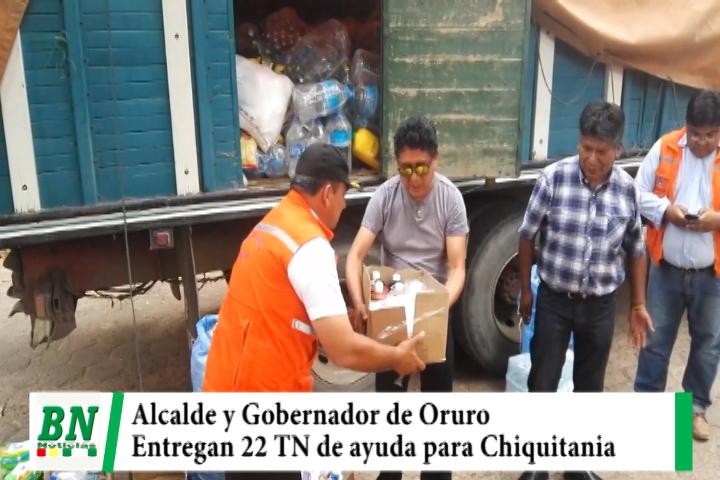 Alcalde y Gobernador de Oruro entregan ayuda humanitaria para ser enviadas a la Chiquitania