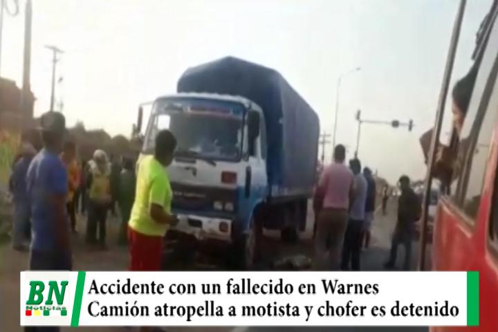 Camión atropella a motista en Warnes, chofer es detenido y motociclista fallece