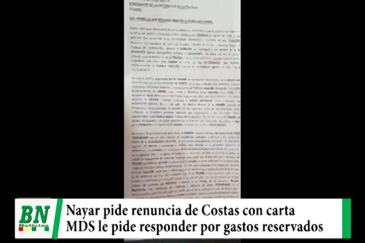 Ex Cívico y Ex Ministro de Banzer, Guido Nayar, pide renuncia de Costas y MDS exige cuentas por gastos reservados