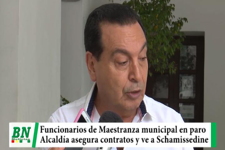 Trabajadores de Maestranza municipal en paro y alcaldía asegura contratos, acusa a Schamissedine