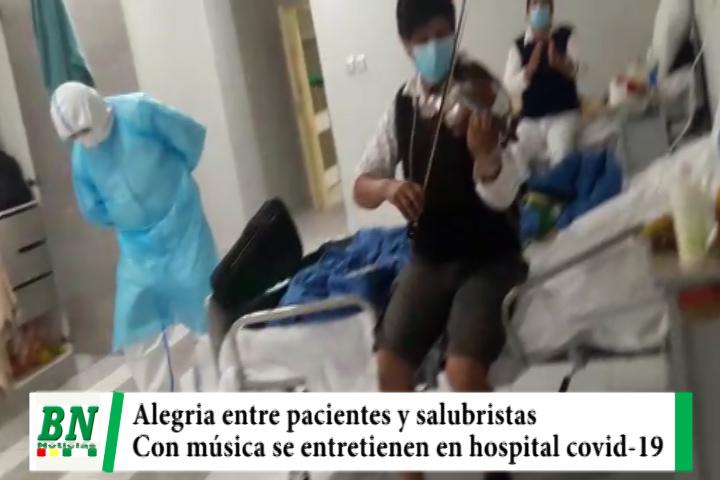 Paciente con cavid-19 entretiene a salubristas y sus compañeros con música chaqueña