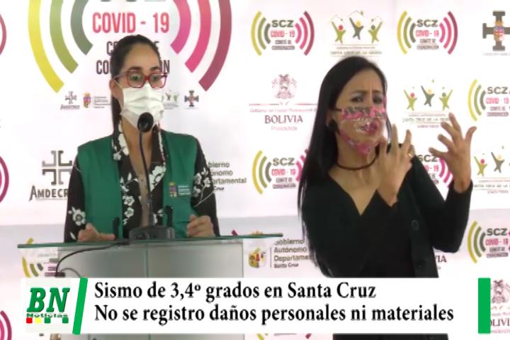 Sismo de 3,4º se registró en Santa Cruz sin causar daños materiales o personales