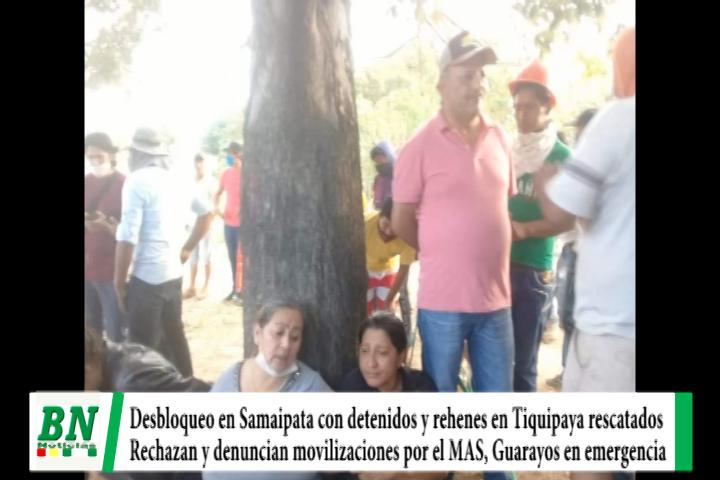 Elección 2020, Desbloquean con detenidos y en Tiquipaya rehenes liberados, emergencia en municipios y acusan al MAS por bloqueos