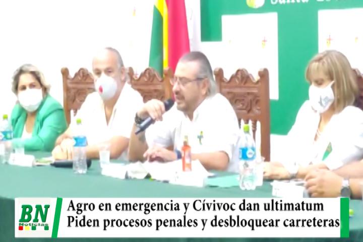 Agro en emergencia y riesgos para producir, Cívicos dan 48 horas para desbloquear, piden procesos y cuestionan TSE