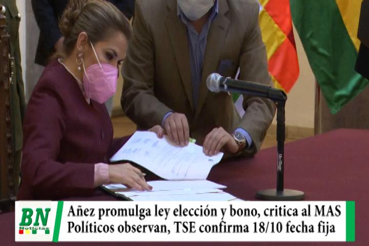 Elección 2020, Añez promulga Ley elección y Bono y critica al MAS, políticos observan, TSE confirma 18/10 fecha fija