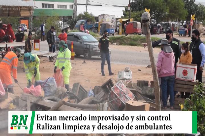 Municipio interviene y evita apertura de mercado improvisado desalojando a ambulantes