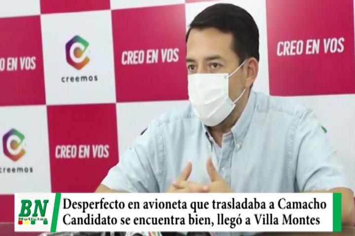 Campaña CREEMOS, Desperfecto en avioneta retrasó agenda de Camacho que cambió de aeronave
