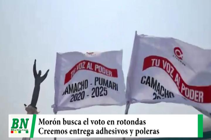 Campaña CREEMOS, Morón busca en voto en las rotondas y regala adhesivos y poleras en las calles