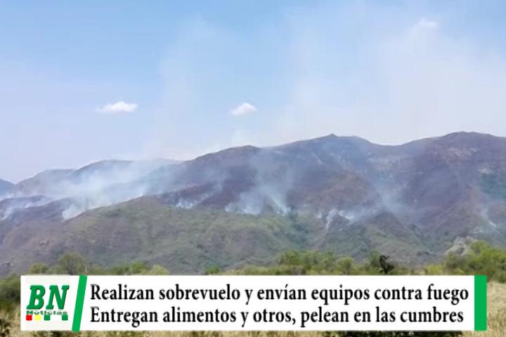 Realizan sobrevuelo en zonas con incendios y envían equipos, bomberos en montañas mientras donan alimentos y otros